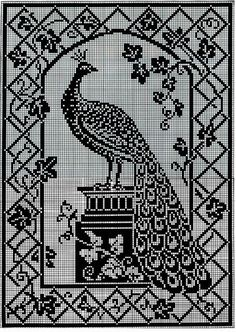 Peacock on pedestal - pattern shown Cross Stitch Bird, Cross Stitch Animals, Cross Stitch Flowers, Cross Stitch Designs, Cross Stitch Patterns, Filet Crochet Charts, Crochet Stitches Patterns, Crochet Designs, Diy Bead Embroidery
