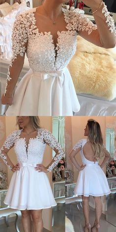 be229a86c80 short white party dresses, mini open back long sleeves homecoming dresses,  sexy deep v