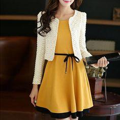 Ladylike Scoop Neck Color Block Sundress + Long Sleeve Twinset For Women Sexy Vintage Dresses, Cute Dresses, Beautiful Dresses, Dresses For Work, Dress Outfits, Fashion Dresses, Dress Up, Skater Dress, Korean Fashion
