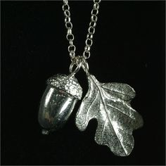 acorn and oak leaf necklace silver and pewter necklace UK made Acorn Necklace, Leaf Necklace, Leaf Jewelry, Jewelry Gifts, Jewellery, Christening Gifts For Girls, Goddaughter Gifts, Bride Necklace, Girls Necklaces