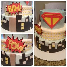 Vintage super hero cake by Eggleston's Edibles