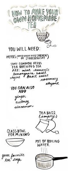 Great basic instructions and starters guide to making your own tea (scroll to bottom for great basic combinations).