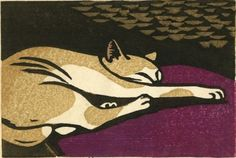 """By Tomoo Inagaki (1902-1980), """"Sleeping Cat"""" woodblock."""