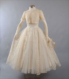 1950's strapless tea length lace wedding gown, jacket, glovelets and lace cap