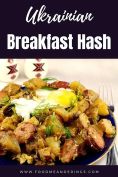 Easy Ukrainian-style breakfast hash using leftover (or microwaved) potatoes with sauerkraut, kubassa/kielbasa, dill and dry cottage cheese. Eggs are optional. Perfect for your next brunch or breakfast potluck! Breakfast Potluck, Breakfast Hash, Best Breakfast Recipes, Healthy Dessert Recipes, Brunch, Supper Recipes, Side Recipes, Supper Meals, Eastern European Recipes