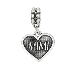 Sterling Silver Mimi Inside Heart Dangle Bead Charm. Oxidized Sterling Silver Three Dimensional Antique Style. Silver Bead Hole Size: Approximately 5 Millimeters. Approximately 24 mm height X 14 mm width (0.95 inch x 0.55 inch). Compatible with majority of European bead bracelets and necklaces. Bead charm weighs approximately 2.4 grams.