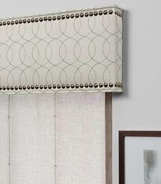 cornice window treatments   Custom Cornice With Nailheads - contemporary - window treatments - by ...