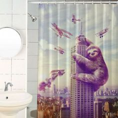 Slothzilla Shower Curtain! Get it here -----> http://geni.us/Ifj