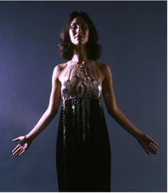 Arline Fisch, Halter and Dress, 1968, formed, fabricated silver and printed velvet by Jack Lenor Larsen (from California Design 11, 1971). Collection: Museum of Arts and Design, New York, gift of Bettianne Welch.  (Click to enlarge)