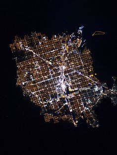 The lights of Las Vegas surrounded by desert as seen from the Internation Space Station