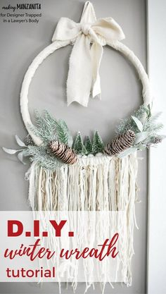 This DIY winter wreath is an easy way to add a touch of Winter beauty to your home! The Boho style of this winter wreath is so fun and different.