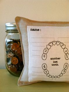 tooth fairy pillow with chart. This is an awesome idea. Although I would make mine a bit more jazzy.. :)