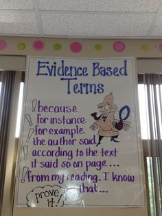 Evidence Base Terms YES! Get them to actually respond and give reasons for their answers from the text! Reading like a Detective!