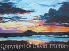 Equatorial Sunset. A very atmospheric  painting depicting a sunset on the equator.  This is painted in watercolour with a hint of acrylic.  The Original is for sale size is 15 ins x 20 ins. Also in Limited Edition Prints.  http://www.davidtruman.co.uk/generalart/image.632?_i=12