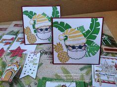 Stampin' Up! Karte 3x3inch mit Jolly Friends und Handstanze Weihnachtsmütze / Stampin' Up! Card 3x3inch with Jolly Friends and Jolly Hat Builder Punch