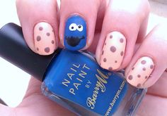 Cookie Monster #cookiemonster #nailart #nails
