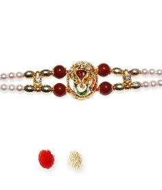 Send Rakhis To India Multicolour Fabric Designer Rakhi Rakhi, Fabric Design, Beaded Bracelets, India, Beautiful, Jewelry, Fashion, Jewellery Making, Moda