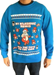 My Milkshake Brings all the Toys to the Yard © - Women and Mens Ugly Christmas Sweater - Funny Chris Plus Size Christmas Sweaters, Mens Ugly Christmas Sweater, Christmas Sweaters For Women, Ugly Sweater Party, Couple Christmas, Christmas Humor, Christmas Parties, Christmas Decorations, Funny Christmas Outfits