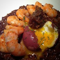 Red Rice Risotto made with red wine, bone marrow broth, and Jarlsburg cheese. Topped with cayenne dusted shrimp, a red wine marinated soft boiled egg, and a dollop of Bulleit Bourbon date compote. #bittermommy #bourbon #cookingwithbooze #cooking #bulleit #comfortfood #shrimp #wine #redwine.  #foodwinewomen #mommy #boozyeats Sweet, spicy, and savory.