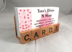 "@Tammy Hu Scrabble Tiles ""Cards"" Business Card Holder - Upcycled Game Pieces - Desk, Office decor. $15.00, via Etsy."