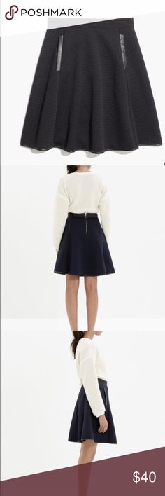 """Madewell Quilted Skater Skirt ❤️ this!!! This skirt is sold out!!! Worn once (maybe) in perfect condition!  The texture of the fabric along with the contrasting faux leather pockets and hem detail. Take this skirt to another level. Zip closure.  Measurements  Waist 13.5"""" Length 19"""" Madewell Skirts Circle & Skater"""