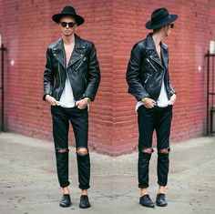 Masamod Fedora Hat, H&M Leather Biker Jacket, Ripped Jeans (Diy), Derby Shoes, Casio Gold Retro Watch, Vintage Round Sunglasses