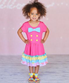 Another great find on #zulily! Fuchsia Nautical Bow Skater Dress - Infant, Toddler & Girls #zulilyfinds