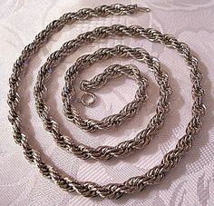 Rope Link Chain Necklace Silver Tone Vintage Avon Weaved Twisted 24 Inches Long