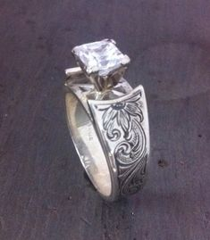 Sterling cathedral ring with 6mm cz stone princess cut