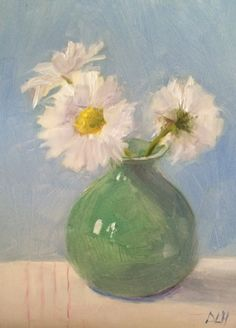 """Original oil painting, painted from life, 6""""x 8"""", """"Daisies in a Vase"""""""