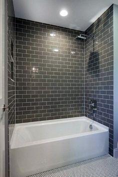 Bathroom tile ideas with white tub grey subway bathtub tile ideas bathroom tub small shower tub . bathroom tile ideas with white tub Hall Bathroom, Upstairs Bathrooms, Bathroom Renos, Grey Bathrooms, Modern Bathroom, Cozy Bathroom, Bathroom Remodeling, Remodeling Ideas, Master Bathrooms