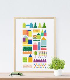 illustration, city, kids room, https://www.facebook.com/printlovee/?pnref=lhc