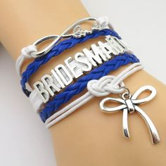 Infinity Love Royal Blue White Wedding Party Bracelets | Blue Lion Jewels