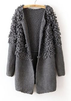 Grey Plain Round Neck Thick Acrylic Wool Coat