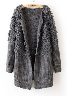 Grey Plain Round Neck Thick Acrylic Wool Coat