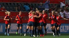 Solveig Gulbrandsen #8 of Norway celebrates scoring her team's first goal