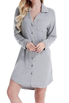 Breathable and Comfortable. ☆This Soft Sleepshirt Borrows From the Boys  with a Menswear-Inspired Button-Front b87f433e5