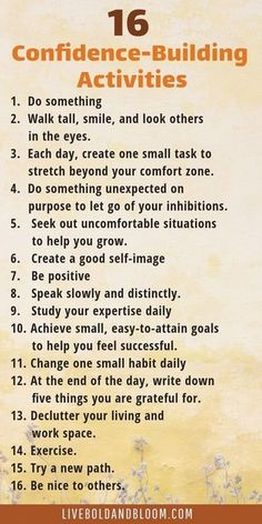 16 confidence-building activities to improve . - 16 confidence-building activities to improve … – - Confidence Building Activities, Vie Motivation, Motivation Success, Business Motivation, Health Motivation, Affirmations Positives, Self Esteem Affirmations, Self Care Activities, Leadership Activities