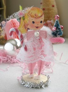 Vintage Inspired Christmas SuGaR SwEeT PINK Christmas Keepsake Paper Posy Doll