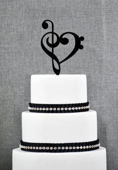 Treble Bass Clef Heart Wedding Cake Topper by ChicagoFactoryDesign