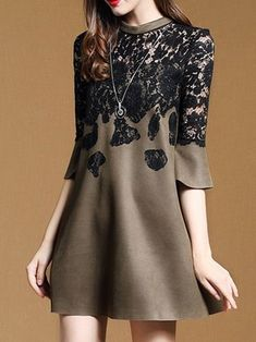 Casual A-line Guipure Lace 3/4 Sleeve Mini Dress