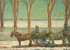 Albert H. Robinson - Carts at Pointe Claire Quebec x Oil on canvas Claire, Oil, Landscape, Canvas, Artist, Painting, Tela, Painting Art, Landscape Paintings