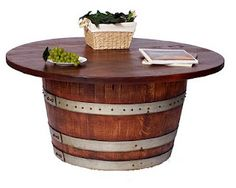 Wine Barrel Table for my back yard! This will make a great Summer project. :0)