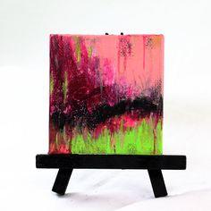 Original Miniature Acrylic Painting Pink and by JudyApplegarthArt