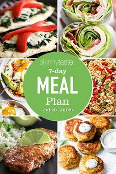 A free 7-day, flexible weight loss meal plan including breakfast, lunch and dinner and a shopping list. All recipes include calories and updated WW Smart Points. #mealplan #weightloss Weight Loss Meal Plan, Weight Watchers Meals, Ww Recipes, Healthy Recipes, Healthy Foods, Recipies, Weigth Watchers, A Food, Food And Drink