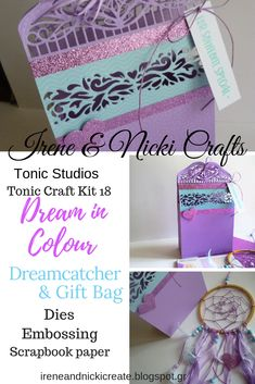 Irene and Nicki Create Friend Birthday, Birthday Gifts, Glitter Cards, Make A Gift, Craft Kits, Gift Bags, Irene, Scrapbook Paper, Dream Catcher