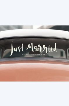 Love this!  kate spade 'just married' car decal http://rstyle.me/n/vc69vnyg6