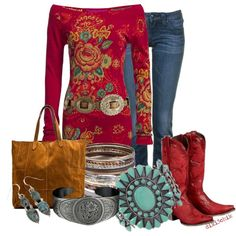 Cowgirl in Red, Finally an outfit idea to wear with my red boots! Mode Country, Country Look, Country Girls, Cowgirl Chic, Cowgirl Style, Gypsy Cowgirl, Western Style, Country Fashion, Country Outfits