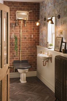 Shown with iconic 814 Thomas Crapper Cast Brass Cistern and Throne WC seat. Small Toilet Room, Small Bathroom, Bathroom Ideas, Bathroom Inspo, Master Bathroom, Pub Interior, Bathroom Interior, Industrial Bathroom, Interior Ideas