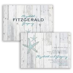Weathered wood and starfish wedding invitation. #Destination #Beach #WeddingInvitations #DavidsBridal http://www.invitationsbydavidsbridal.com/Wedding-Invitations/Beach--Destination-Invitations/2947-DB33628-Beach-Boardwalk--Invitation.pro?&sSource=Pinterest&kw=Destination_DB33628